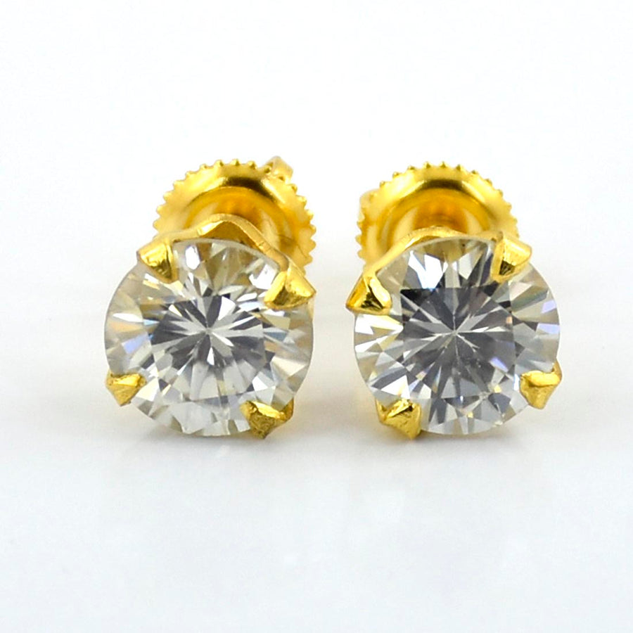 1.65 Ct Round Shape Off-White Diamond Solitaire Studs in 925 Silver - ZeeDiamonds