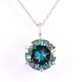 10 Ct Deep Blue Diamond Solitaire Pendant in Prong Setting - ZeeDiamonds