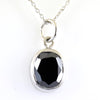 4 Ct Oval Shape Black Diamond Solitaire Pendant, 100% Certified
