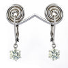 3 Ct Certified, Off-White Tinge of Blue Diamond Dangler Earring, Great Style - ZeeDiamonds