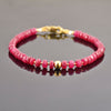 5-5.5mm Ruby Gemstone Bracelet with Golden Foil Bead, AAA Certified - ZeeDiamonds