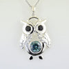 2 Ct AAA Certified, Blue Diamond Solitaire Owl Design Pendant