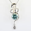 2 Ct Certified, Blue Diamond Solitaire Beautiful Snake Design Pendant