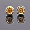 1.70 Ct Champagne Diamond Studs in Bezel Setting, 100 % Certified - ZeeDiamonds