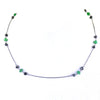 5 mm, Black Diamond Chain Necklace with Emerald Gemstone Beads