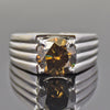3.5Ct Certified Champagne Diamond Solitaire Unisex Ring With Custom Size Option - ZeeDiamonds