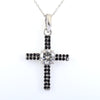 1.50 Ct Certified Off-White Diamond Cross Pendant with Black Diamonds