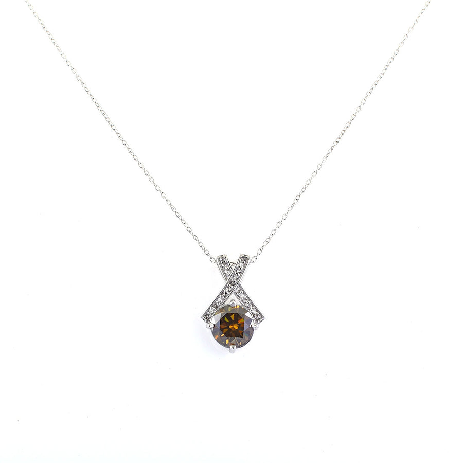 2.75 Ct Round Champagne Diamond Solitaire Fancy Pendant with White Accents - ZeeDiamonds