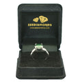 3.60 Cts, Certified Round Blue Diamond Solitaire with Accents Ring - ZeeDiamonds
