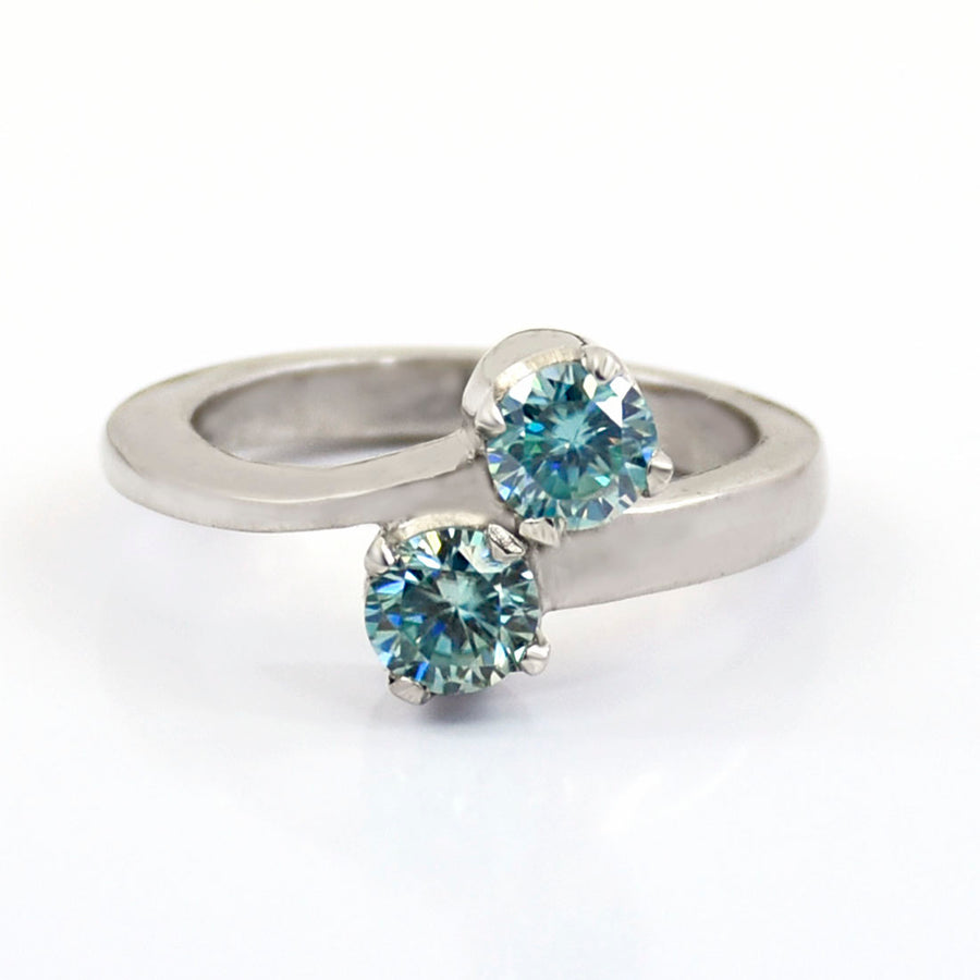 1 Ct Two Stone Blue Diamond Ring in Sterling Silver - ZeeDiamonds