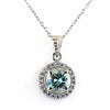 2.15 Ct AAA Certified Elegant Blue Diamond Solitaire Pendant with Accents