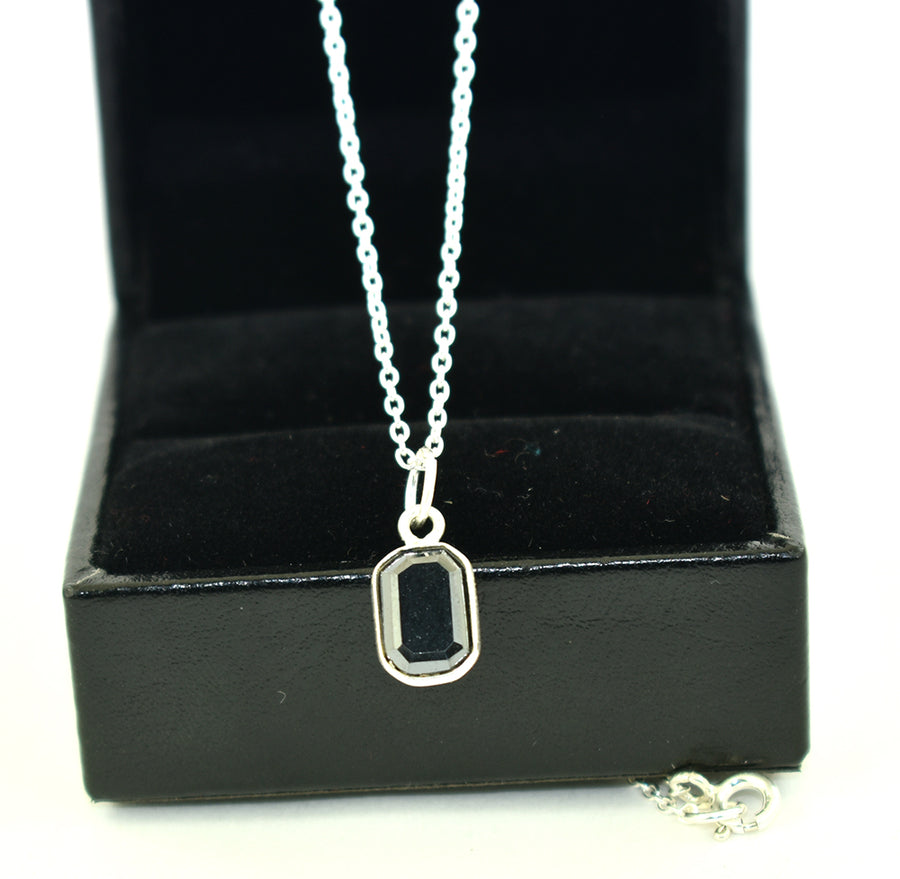 1.95 Ct Certified Black Diamond Pendant Chain Necklace, Delicate Silver Necklace - ZeeDiamonds