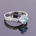 1.5 Ct Blue Diamond Ring With White Diamond Accents - ZeeDiamonds
