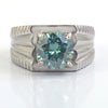 0.85 Ct Blue Diamond Ring in 925 Sterling Silver