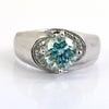 0.8 Ct Blue Diamond Ring with Diamond Accents