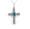 1.5 Ct Blue Diamond Cross Pendant With White Diamonds Accents