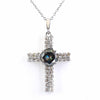 2.05 Cts Blue Diamond 30 Cent Solitaire Cross Pendant