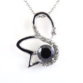 1.50 Ct Black Diamond Swan Design Pendant with White Diamond Accents - ZeeDiamonds