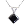 5.25 Ct Princess Cut Black Diamond Pendant with Prong Setting - ZeeDiamonds