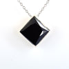6.20 Ct Princess Shape Black Diamond Solitaire Pendant with Bezel Setting - ZeeDiamonds