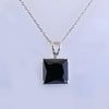 5.50 Ct Princess Cut Black Diamond Pendant with Bezel Setting - ZeeDiamonds