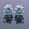 2.80 Ct AAA Certified Blue Diamond Solitaire Studs in 4 Prongs, Amazing Shine & Bling ! - ZeeDiamonds