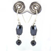 Certified Stunning Black Diamonds Dangler Earrings in 925 Silver