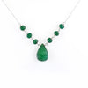 Elegant Emerald Gemstone Chain Necklace With Emerald Drop in 925 Silver - ZeeDiamonds