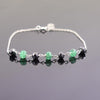 5 mm Certified Emerald Gemstone Chain Bracelet With Black Diamond Bead - ZeeDiamonds