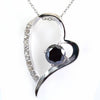 1.50 Ct Black Diamond Heart Shape Pendant with White Diamond Accents - ZeeDiamonds