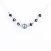 AAA Certified 7.40 ct Round Blue & Black Diamond Beads Necklace, Gift For Friend