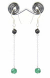 100% Certified Black Diamond Dangler Earrings with Emerald Beads - ZeeDiamonds