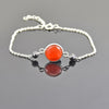 4 mm Black Diamond Chain Bracelet With Carnelian Gemstone, Great Style - ZeeDiamonds