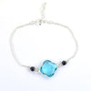 4 mm Black Diamond Beads with Blue Topaz Gemstone Sterling Silver Bracelet - ZeeDiamonds