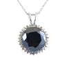 13 Ct Brilliant Cut Black Diamond Designer Pendant with Diamond Accents - ZeeDiamonds