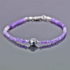 Elegant Amethyst Gemstone Bracelet with 8mm Black Diamond Bead - ZeeDiamonds