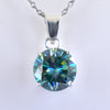 3.50 Ct Blue Diamond Solitaire Pendant in 925 Silver, 100% Certified