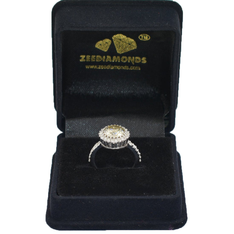 3 CT CHAMPAGNE DIAMOND RING WITH DIAMOND ACCENTS - ZeeDiamonds