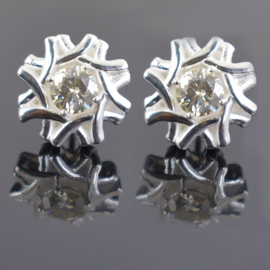 AAA Quality 1.60 Ct Designer Off-White Diamond Solitaire Studs
