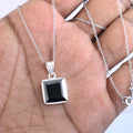 7.80 Ct Princess Cut Black Diamond Solitaire Pendant in 925 Sterling Silver - ZeeDiamonds