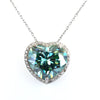 12.75 Ct Certified Blue Diamond Pendant with Diamond Accents- HEART SHAPED - ZeeDiamonds