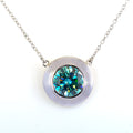 3.40 Ct Round Cut Blue Diamond Solitaire Pendant With Bezel Design - ZeeDiamonds