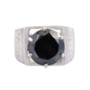 4 Ct AAA Certified Black Diamond Solitaire Men's Heavy Ring