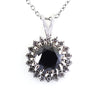 4 Ct Black Diamond Pendant with White Sapphire Accents, AAA Certified
