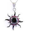 4 Ct AAA Certified Black Diamond Sun Pendant with Ruby Accents