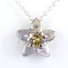 0.70 Ct Champagne Diamond Solitaire Pendant With Flower Design - ZeeDiamonds