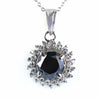 3 Ct Black Diamond Pendant with White White Accents, 100% Certified