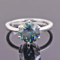 2.9 Ct Certified Round Blue Diamond Solitaire Ring in Prong Setting - ZeeDiamonds