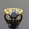 2.50 Ct AAA Certified Black Diamond Solitaire Ring, Great Shine