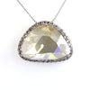 12.40 Ct Off-White Diamond Pendant with Topaz Accents, 100% Certified - ZeeDiamonds